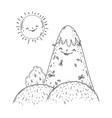 mountain snow and sun kawaii characters vector image