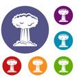 mushroom cloud icons set vector image vector image