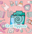 oral hygiene toothpaste and floss dentistry vector image vector image
