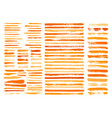 orange paint stain brush stroke dabs set vector image