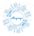 outline albuquerque new mexico city skyline vector image vector image