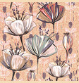 pattern with decorative flowers vintage vector image vector image