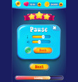 pause menu scene pop up with sound music vector image