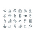 peace and human rights icons set line vector image vector image