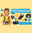photographer or photo journalist with equipment vector image