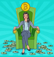 rich business woman sitting on throne with bitcoin vector image vector image