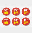 sale tags set badges template 10 off 20 25 50 75 vector image vector image