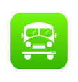 school bus icon green vector image vector image