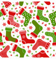 seamless pattern with different christmas socks vector image vector image
