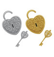 set locks and keys gold and silver isolated vector image vector image