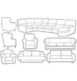 set of different couches vector image vector image