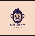 Smiling cute monkey logo design