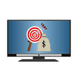 television display business hitting money target vector image vector image