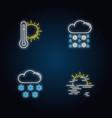 temperature and precipitation forecast neon light vector image
