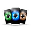 three eyeball phones vector image