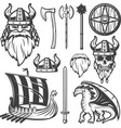 Vintage Viking Icon Set vector image vector image