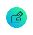 wallet icon wallet with stick out money on gradie vector image vector image