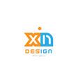 xn x n orange blue alphabet letter logo vector image vector image