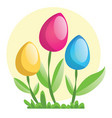 yellow pink and blue easter eggs on flower stems vector image vector image