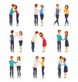 greeting handshake set vector image
