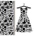 women dress fabric with halloween symbols vector image