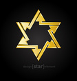 abstract design element golden star with arrows vector image vector image