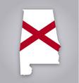 alabama al state flag in map shape vector image vector image