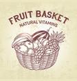 basket setcomposition of fruit in basket vector image vector image