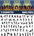 Big set of silhouettes of dancing people