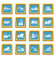 building vehicles icons azure vector image vector image