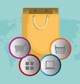 buy on line with shopping bag vector image vector image