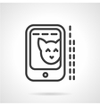 Cat photo in phone simple line icon vector image vector image