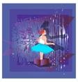 Child girl teenager gift box purple vector image