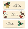 christmas horizontal banners wintage drawings vector image vector image