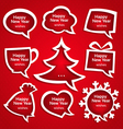 Christmas speech bubles set various shapes with vector image vector image