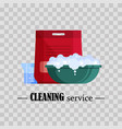cleaning service flat plastic basin with soap vector image vector image