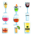 collection various drinks and glasses vector image vector image