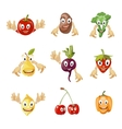 Cute cartoon vegetables and fruit vector image vector image