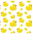 Cute yellow ducks seamless pattern on white vector image vector image
