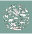 dinosaur in a circle set isolated on a blue vector image vector image