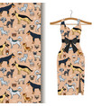 dress fabric with dogs and cats vector image vector image