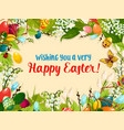 easter egg and flower greeting card design vector image