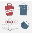 Elements Set for a Bowling Team vector image