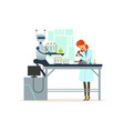 female scientist and robotic arm conducting vector image vector image