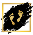 foot prints sign golden icon at black vector image vector image