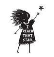 girl or kid reaching the high star vector image vector image