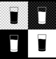 glass with water icon isolated on black white and vector image