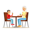 grandmother and a boy eating ice-cream part of vector image