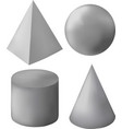 gray 3d geometric figures vector image