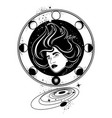 hand drawn surreal of woman with planets surreal vector image vector image